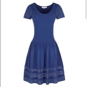 Sandro NWOT Blue knit fit and flair dress S
